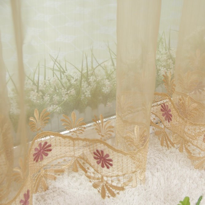 Elegant Peony Embroidery Lace Custom Sheer Curtain