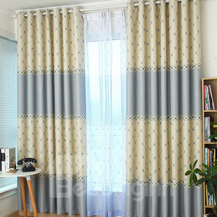 Pretty Elegant Concise Pattern Grommet Top Two-piece Custom Curtain