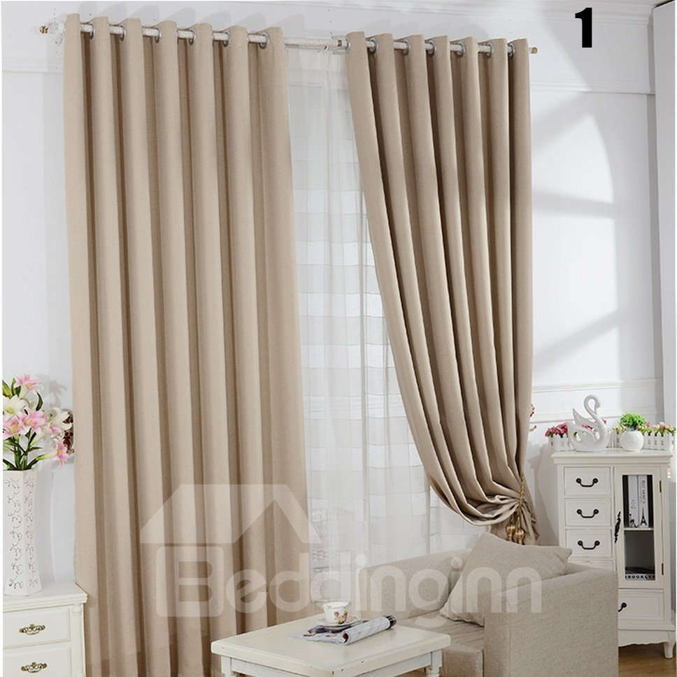 Modern Fashion Concise Pattern Grommet Top Two-piece Custom Curtain