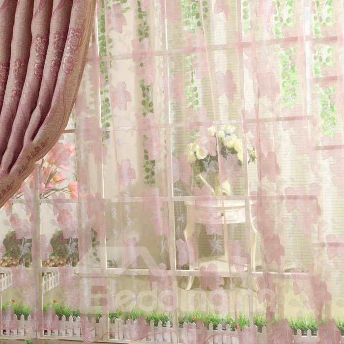 Subtle Pretty Pink Flower Print Custom Sheer Curtain