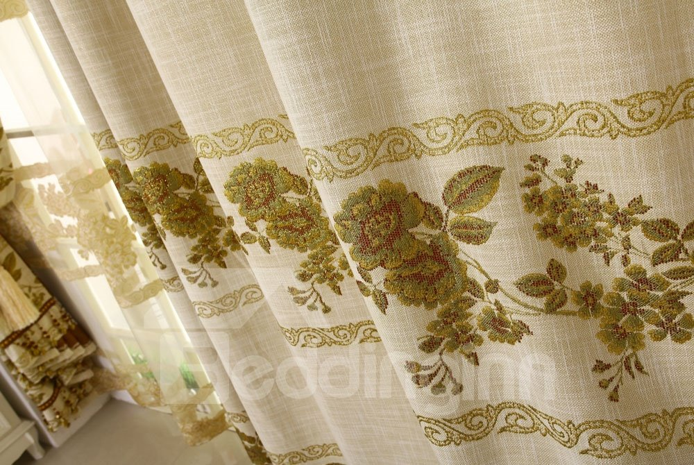 Elegant Luxurious Peony PrintingTwo-piece Custom Curtain