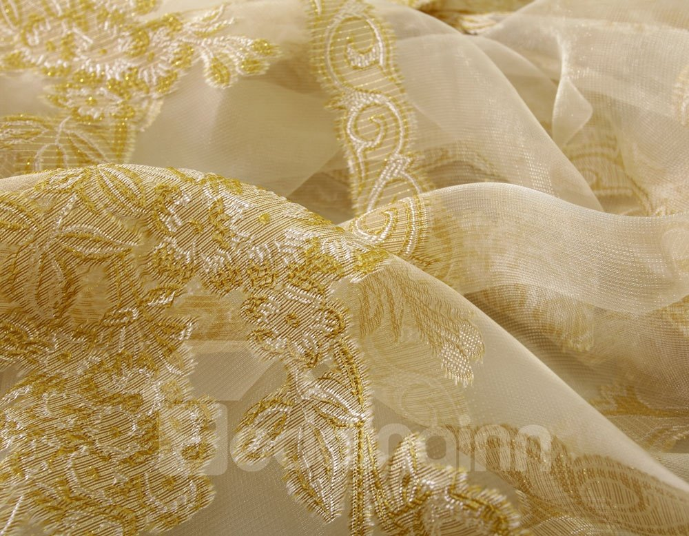 High Class Elegant Golden Peony Printing Custom Sheer Curtain