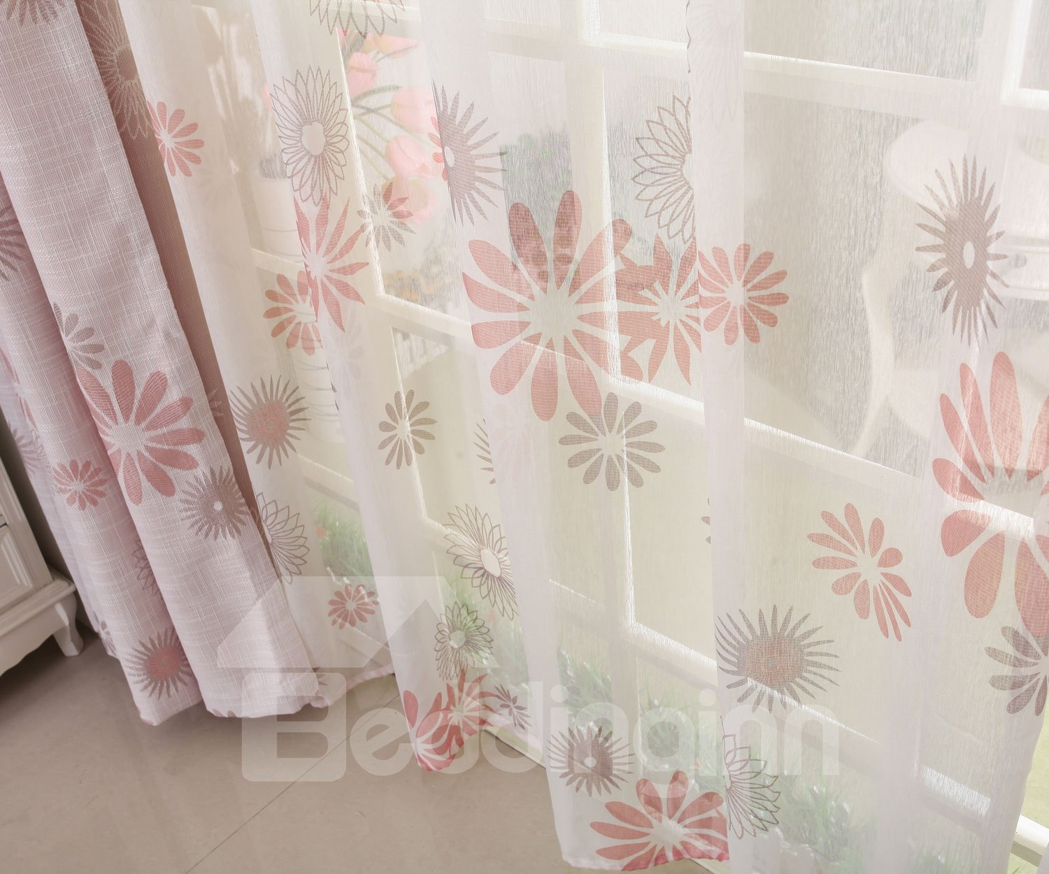 High Quality Fabulous Elegant Pink Sunflower Pattern Custom Sheer Curtain