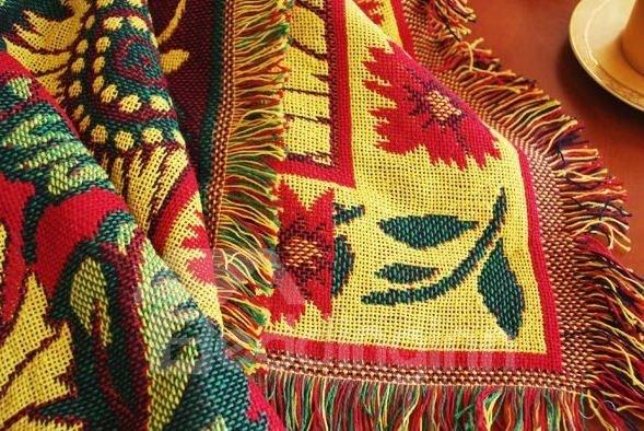 Fancy Adorable Sunflower Tassel Detail Full Cotton Blanket