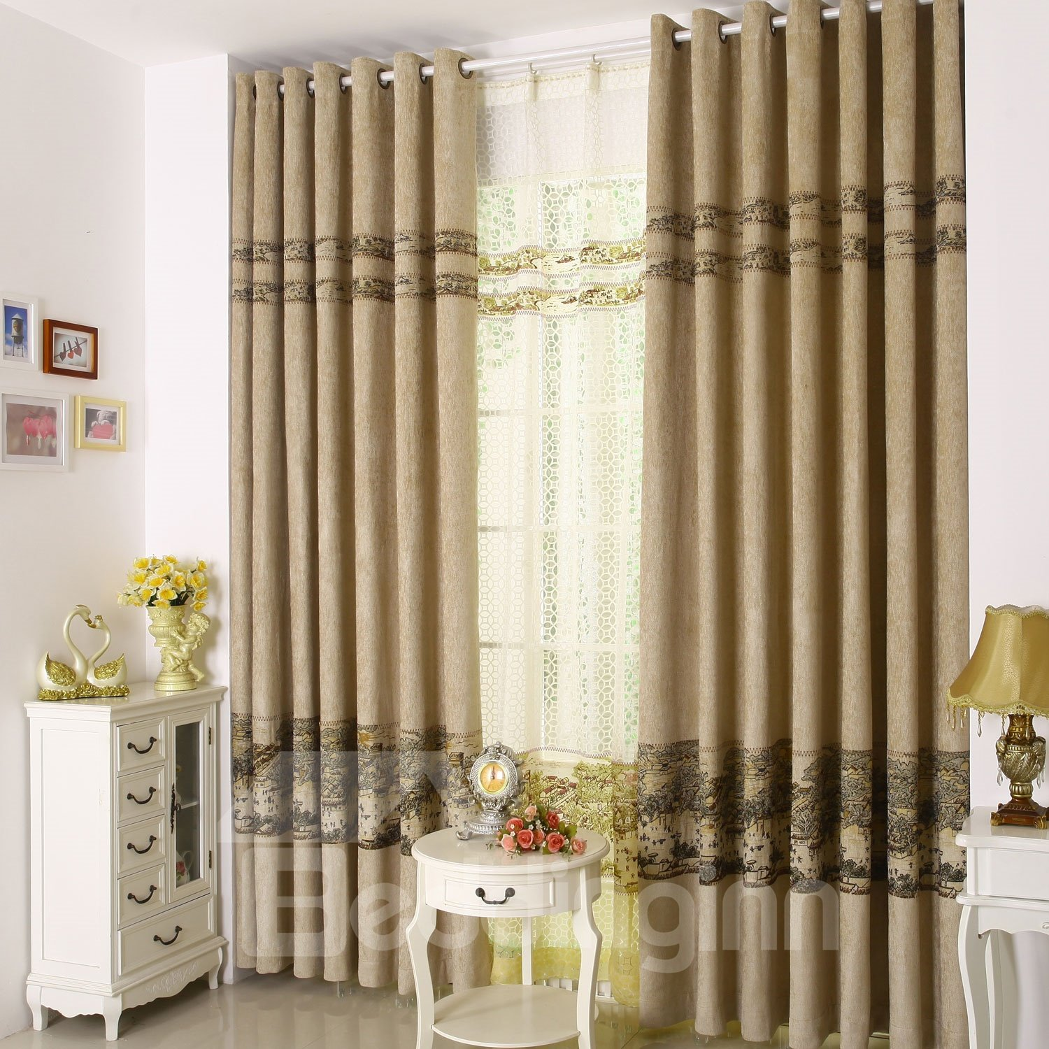 High Class Unique Scene Printing Grommet Top Custom Curtain