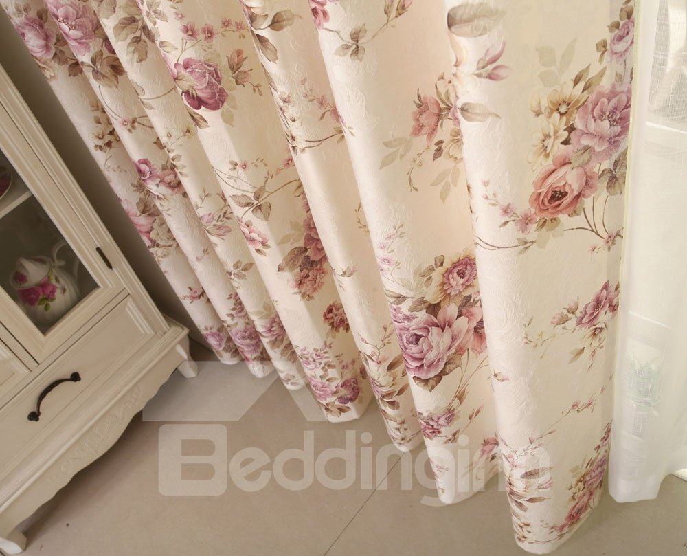 High Class Romantic Pink Peony Print Custom Curtain