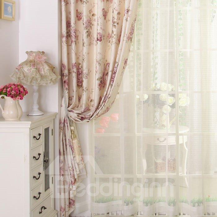 Romantic Cream-Colored Floral Printing Custom Sheer Curtain