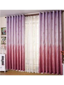 High Quality Super Elegant Purple Reed Printing Grommet Top Two-piece Custom Curtain