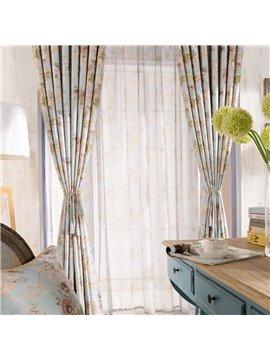 Top Class Romantic Elegant Peony Printing Custom Sheer Curtain
