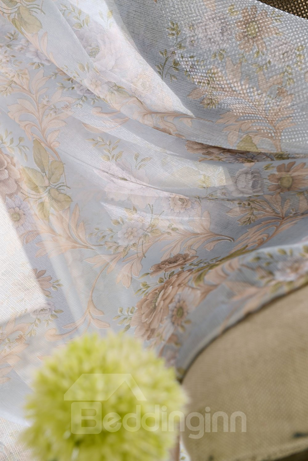 Top Class Romantic Elegant Peony Printing Custom Sheer Curtain
