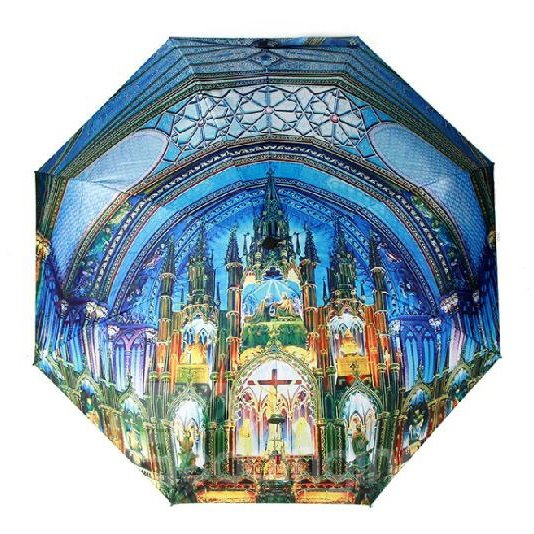 Top Quality Amazing 3D Three-Dimensional Church Pattern Sun Protection Umbrella