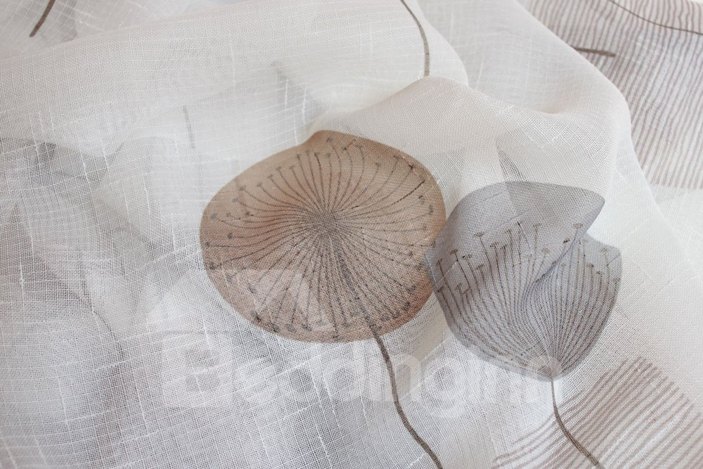 High Quality Super Elegant Dandelion Printing Pleated Curtain Sheer Curtain