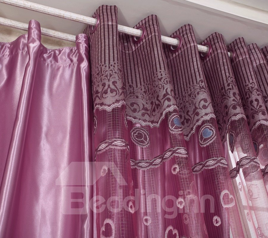 Decorative Flying Peacock Printing Purple Lining and Sheer Curtain Sets