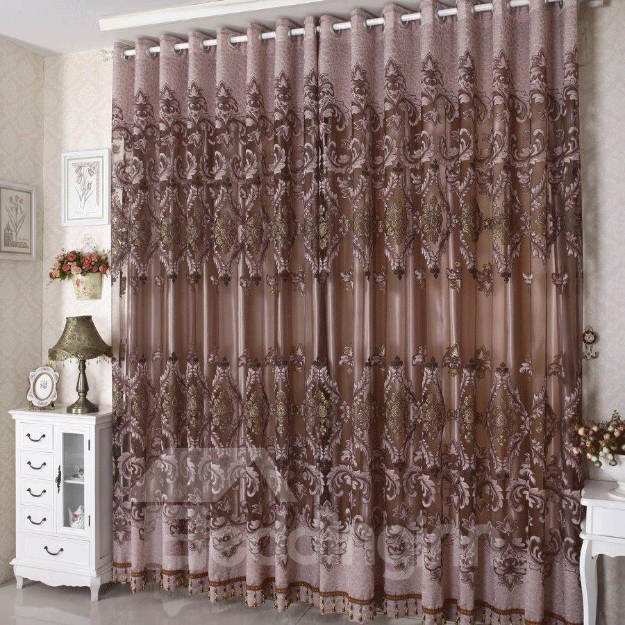 Dark Coffee Phoenix Pattern Grommet Top Custom Curtain for Living Room and Bedroom