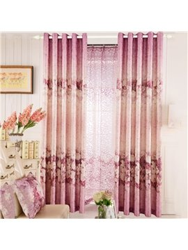 Top Class Romantic Vibrant Pink Lily And Peony Print Custom Curtain