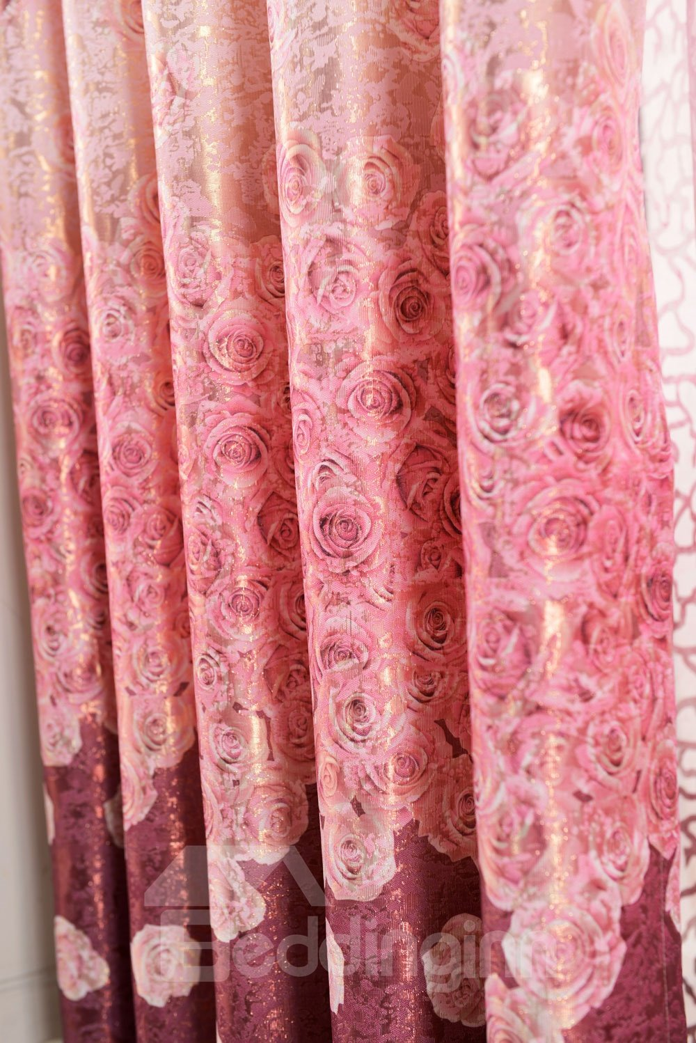 Top Class Romantic Shining Rose Printing Custom Curtain