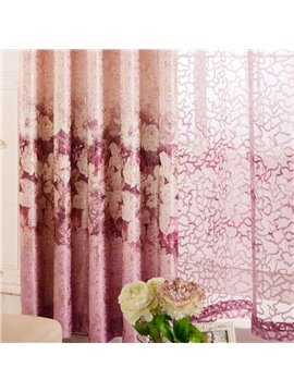 High Class Romantic Elegant Rose Custom Sheer Curtain