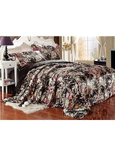 Luxury Beautiful Flower Print 4-Piece Duvet Cover Sets