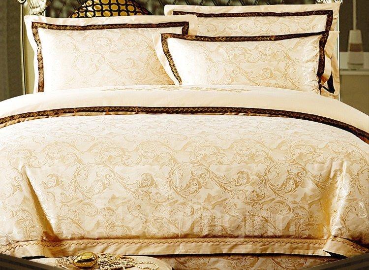 Comfortable Golden Flower Print 4-Piece Duvet Cover Sets