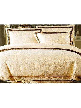 Comfortable Golden Flower Print 4-Piece Duvet Cover Sets