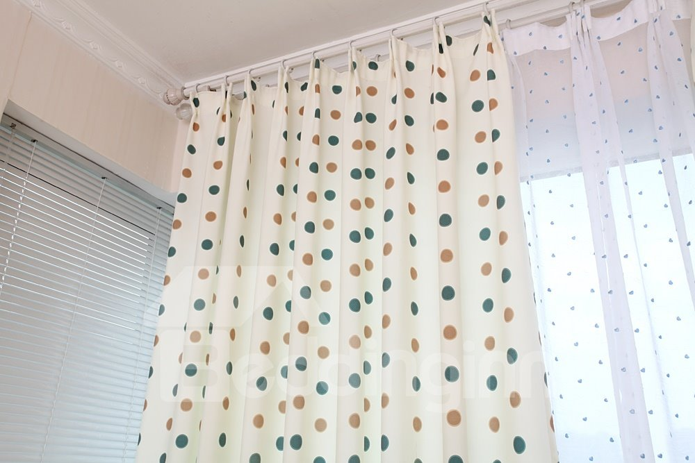 New Style Lovely Dots Double Pinch Pleat Two Pieces Curtain