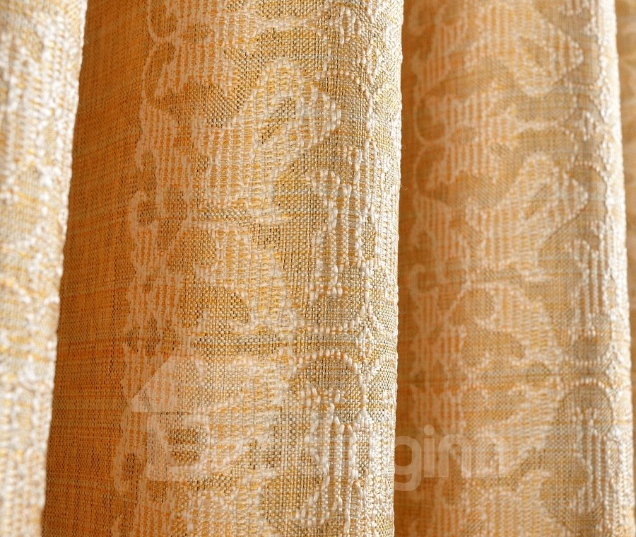 Charming Golden Jacquard Flower Grommet Top Curtain