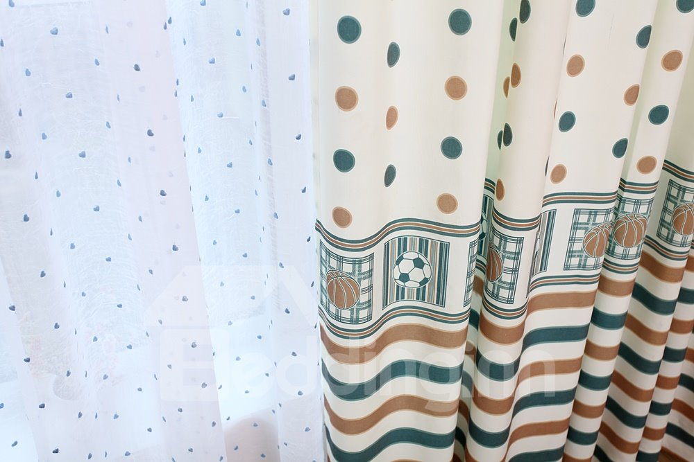 Lovely Green Dots One Piece Custom Sheer Curtain