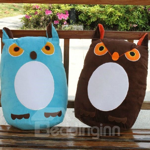 Very Lovely Owl Pattern Plush Throw Pillow