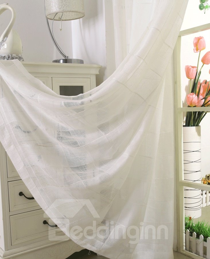 Dreamlike Pure White and Checks Custom Sheer Curtain