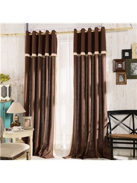 Top Class Elegant Coffee Grass Lawn Design Grommet Top Two-piece Custom Curtain