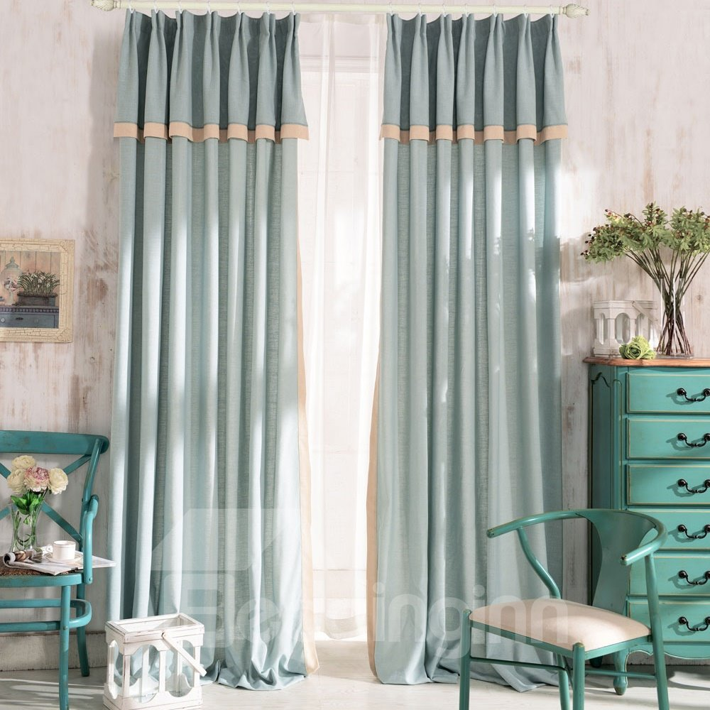 Top Class Elegant Green Grass Lawn Design Double Pinch Pleat  Curtain