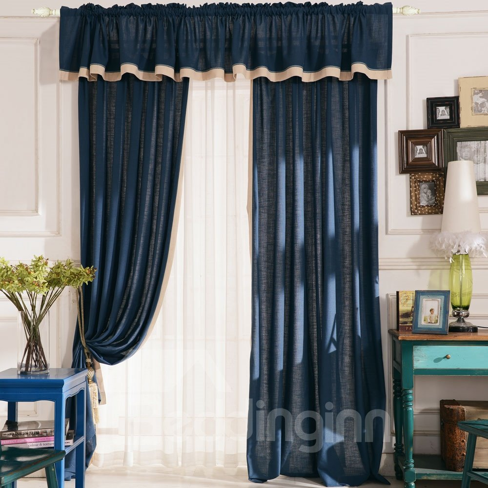Top Class Elegant Deluxe Deep Blue Grass Lawn Design Double Pinch Pleat  Curtain
