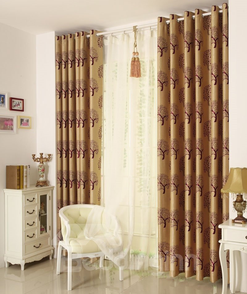 Best Selling Classic Modern Grommet Top Coffee Brown Custom Curtain