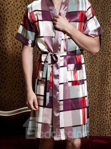 High Quality Fashion Silky Grid Design Sleepwear for Man