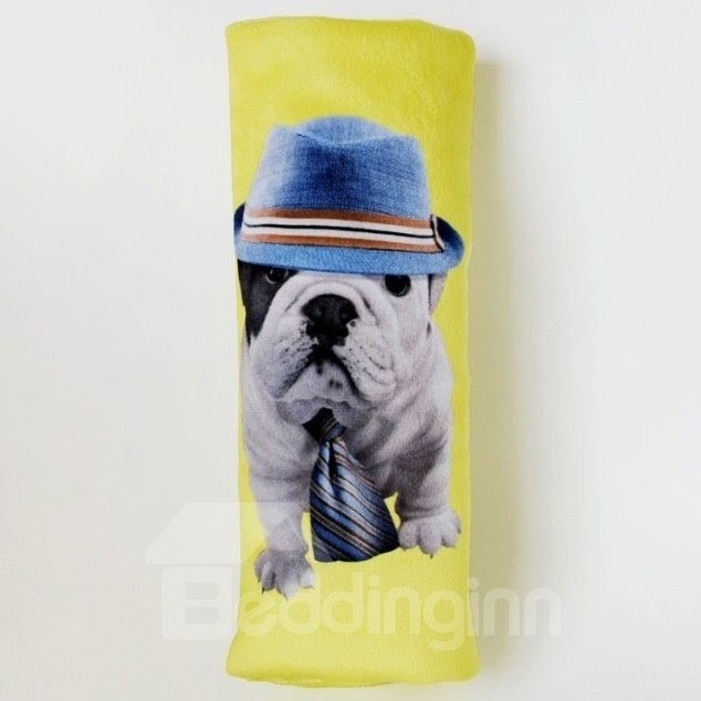 Fluffy Dog Wearing Jeans Hat And Tie Car Seat Belt Cover
