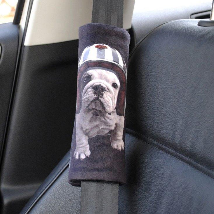 White Dog Wearing Helmet Black Car Seat Belt Cover