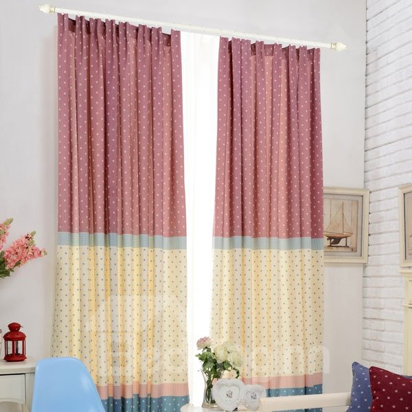Colored Stars Pattern Double Pinch Pleat Curtain