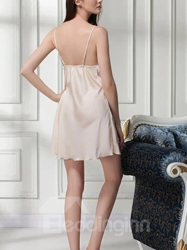 High Quality Elegant Sexy Champagne Lace Detail Chemise