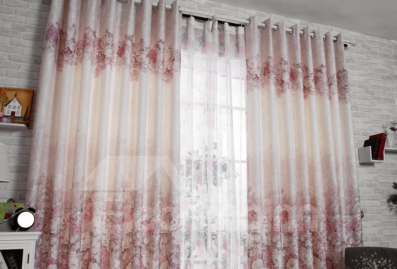 New Classic Luxury Gorgeous Peony Grommet Top Custom Curtain