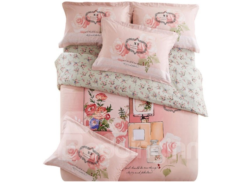 Fragrant Pink Rose and Mirror Print 4-Piece Cotton Duvet Cover Sets