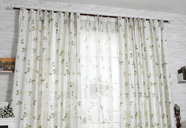 Wonderful Four-Leaf Clover Printing Double Pinch Pleat Curtain