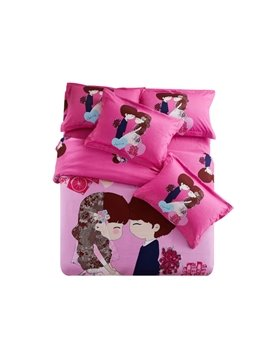 Beautiful Bride and Groom Print 4-Piece Wedding Duvet Cover Sets