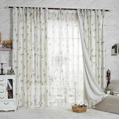 Wonderful Four-Leaf Clover Printing Custom Sheer Curtain