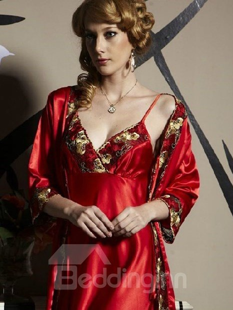 High Quality Charming Sexy Red Floral Printing Sleepwear