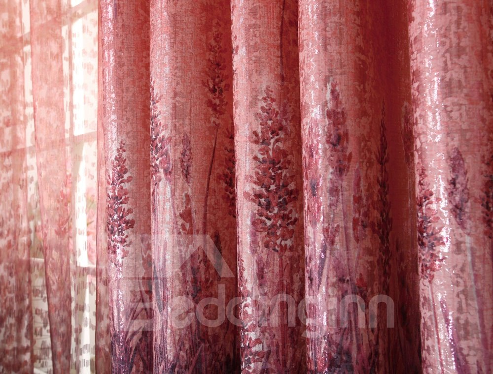 Decoration and Blackout Polyester Romantic Red Lavender Pattern Grommet Top Curtain
