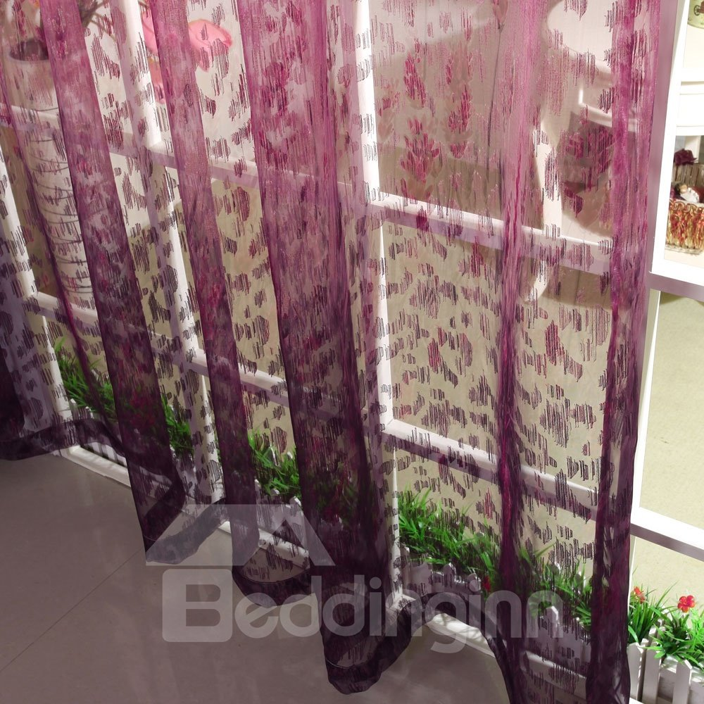 Romantic Elegant Purple Pleated Custom Sheer Curtain