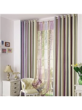 Stylish Vertical Bar Triple Color Scheme Grommet Top Curtain