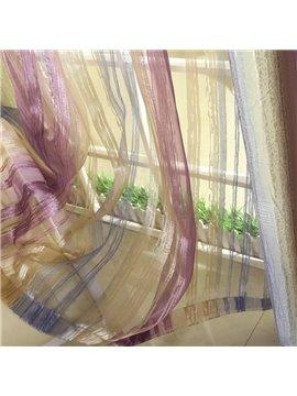 Fantastic Thin Three Color Stripe Pattern Pleated Custom Sheer Curtain