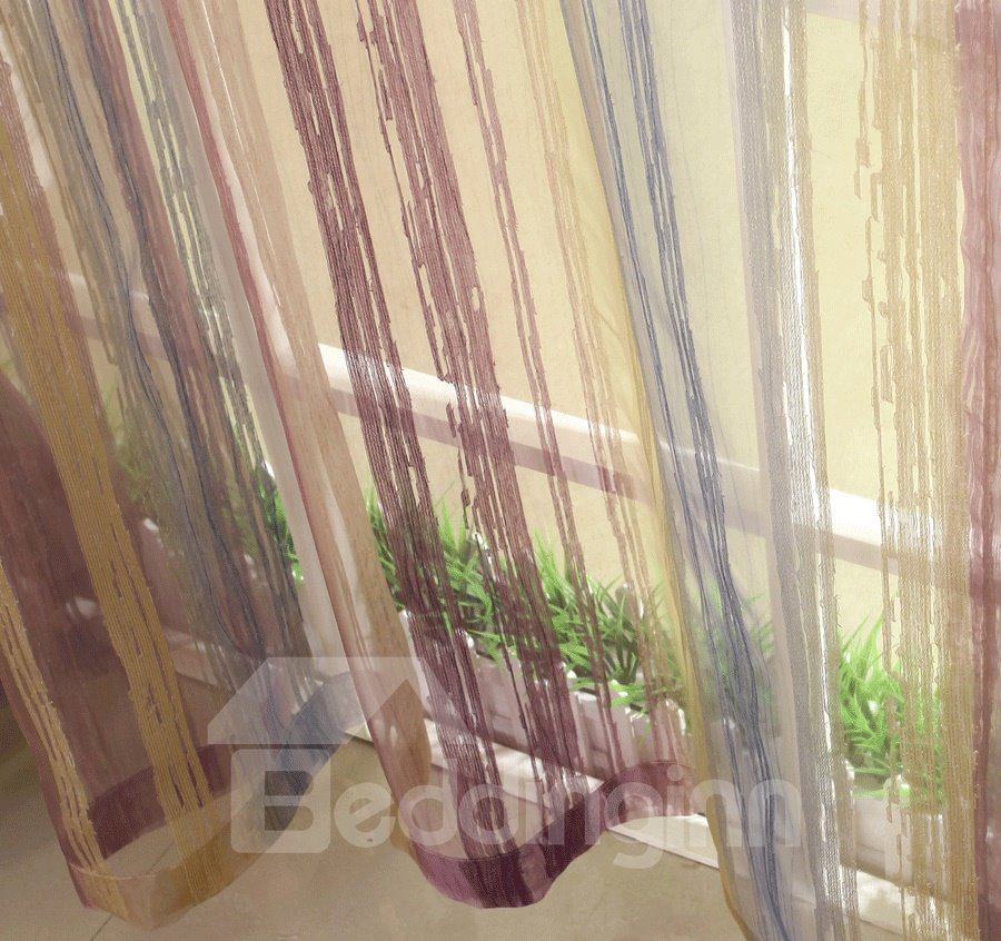Fantastic Thin Three Color Stripe Pattern Pleated Custom Sheer Curtain