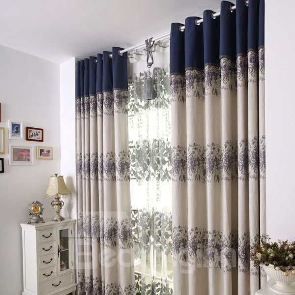 Beautiful Peony Flower Pattern Grommet Top Custom Curtain